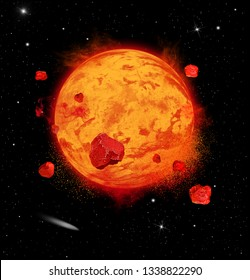 Illustration of a hypothetical lava planet expoding in deep space