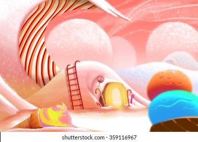 Illustration: Ice cream Mountain. Realistic Fantastic Cartoon Style Artwork Scene, Wallpaper, Game Story Background, Card Design