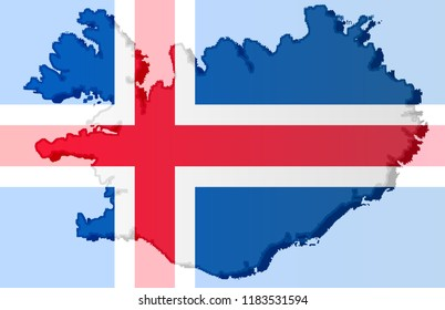 Illustration of an Icelandic flag with a coutour of its borders