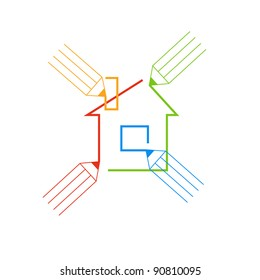 illustration. Icon of collaborative design with house and colored pencils. Sign of concept of co-creation. For vector version see image id 88823521