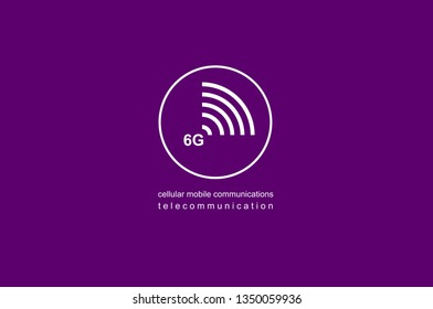 Illustration icon, logo 6G. Speed of the massive connectivity of the device and new protocols in development. Telecommunications Sixth Generation Network Connectivity. Cellular mobile communications.