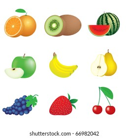 illustration of icons of fruits and berries
