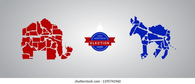 Illustration idea for Midterm Elections - Republican states versus Democrat states.
