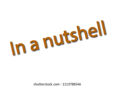 Illustration, idiom write in a nutshell isolated in a white background composition