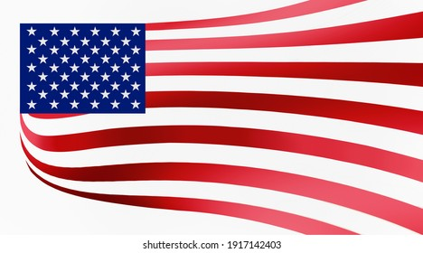 Illustration image of American (USA) flag - 3D rendering