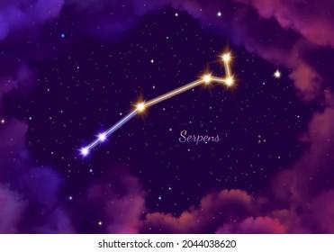 illustration image of the constellation serpens