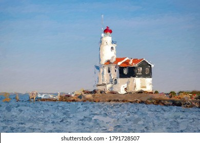 Illustration image of the Horse of Marken (Paard van Marken) converted to oil painting picture style, Watercolor painting the lighthouse with blue sky, Beautiful landscape background.