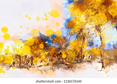 Illustration image of trees in autumn. Yellow leaves in fall season. Digital watercolor painting.
