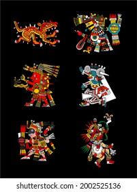 Illustration images of deities of the ancient Mexica culture, which was located in central Mexico