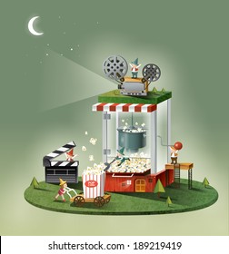 Illustration of imagination and pop corn maker