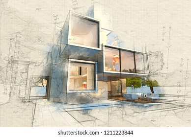 Illustration of  Impressive villa with pool, late afternoon 3D rendering