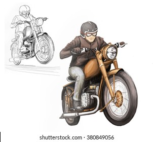 Dessin De Motard dessin motard images, stock photos & vectors | shutterstock