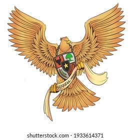 an illustration of indonesian symbol garuda