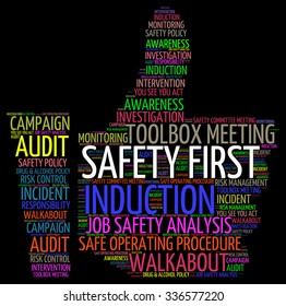 Illustration of Industrial Safety concept in word cloud tag
