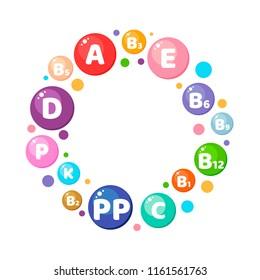illustration. Infographics. Circle. Vitamins, minerals, nutrients.