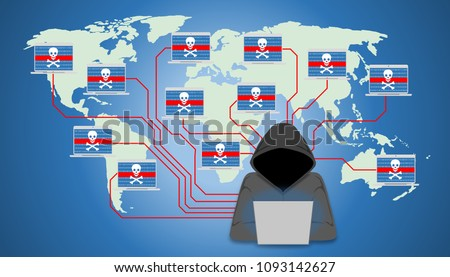 Illustration of insecure network, world wide computer controlled by a botnet master. Botnet is a number of Internet-connected devices, each of which is running one or more bots.