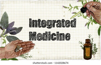 Illustration of Integrated Medicine, Plants and Medicine on Blackboard with Pipette, Tablets and Herbs
