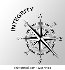 Illustration of Integrity word written aside compass