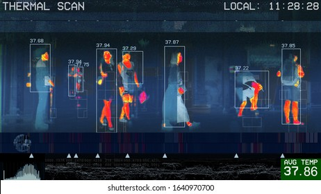 illustration of international passengers infrared thermal scan imaging camera on immigration and entry after landing. conceptual security and medical health diagnosis quarantine precaution measurin