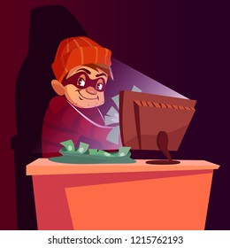 illustration of internet hacker scam. Cartoon scammer man or internet thief smug happy in mask sitting at laptop and stealing money online at night from web fraud