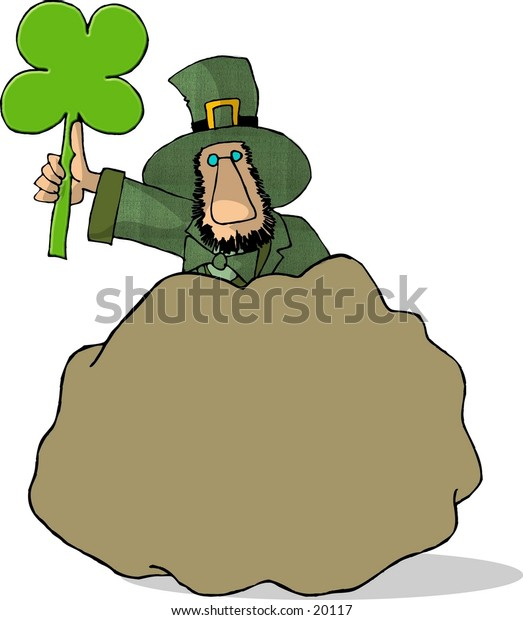 Illustration of an Irish Leprechaun holding a four leaf clover and hiding behind a large boulder.
