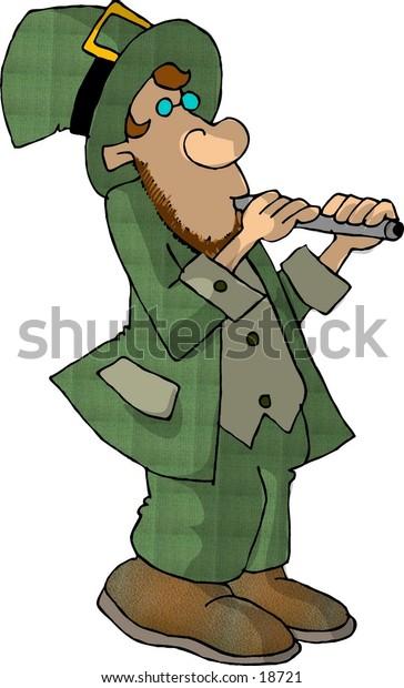 Illustration of an Irish Leprechaun playing a flute.