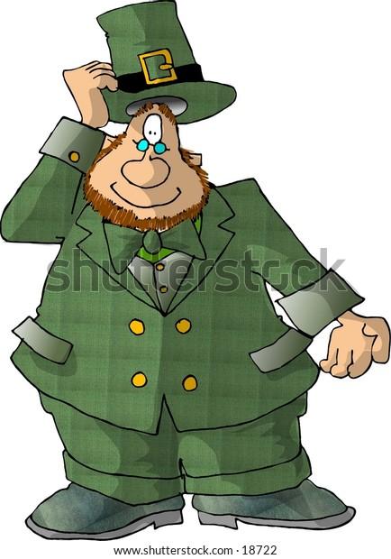 Illustration of an Irish Leprechaun tipping his hat.