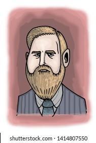 Illustration of Irish novelist Bram Stoker.