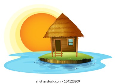Illustration of an island with a nipa hut on a white background