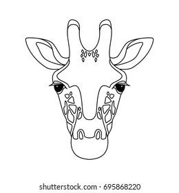 Illustration of Isolated black outline head of giraffe on white background. Line cartoon face portrait