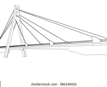 illustration of isolated cartoon bridge on white 3