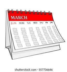 Illustration of Isolated Cartoon Calendar. March. JPEG.
