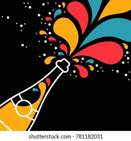 Illustration of isolated champagne bottle with colorful confetti explosion. Ideal for holiday greeting card or party invitation.
