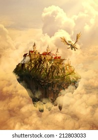 Illustration of isolated dreamland, mystique place, home, castle of beautiful princess invaded, protected by scary dragon. Original screensaver. Fairytale, mythic story concept.