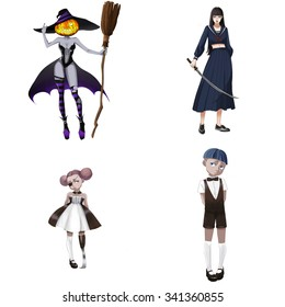 Illustration iSolated Elements: Weirdo Set. The Pumpkin Witch, The Girl Student with Samurai Sword, The Little Loli with an Iron Leg, The Tomboy. Realistic Fantastic Cartoon Style Character Design.