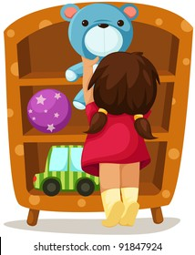 illustration of isolated girl with toys on white background