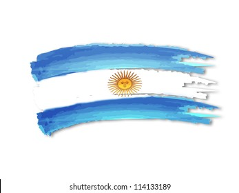 illustration of isolated hand drawn Argentine flag