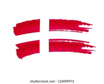 illustration of isolated hand drawn Danish flag