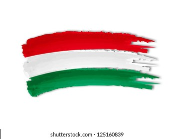 illustration of isolated hand drawn Hungarian flag