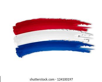 illustration of isolated hand drawn Netherlandish flag