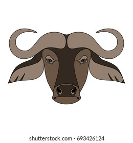 Illustration of Isolated head of buffalo on white background. Colored cartoon face portrait