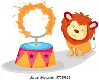 illustration of isolated lion with flaming ring on white