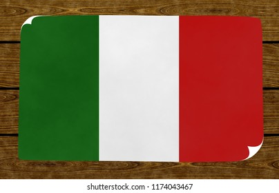 Illustration of an Italian flag on the papier pasted on the woody wall