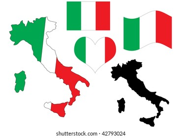 illustration of Italy map with flag and heart in national colors