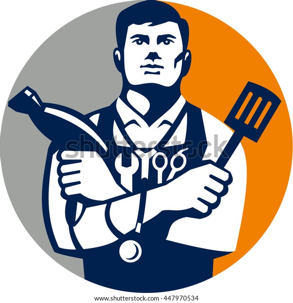 Illustration of a jack of all trades holding a blow dryer and spatula, with stethoscope on neck and spanner and barber scissors in apron facing front set inside circle isolated background retro style.