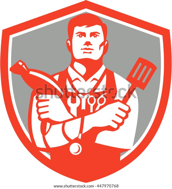 Illustration of a jack of all trades holding a blow dryer and spatula, with stethoscope on neck and spanner and barber scissors in apron facing front set inside shield  isolated background retro style