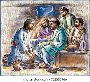 Illustration. Jesus and the 12 Apostles. Jesus washing his feet to his disciples. The picture is painted on a background of fabric.