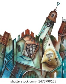 Illustration of the Jewish quarter with Jewish clock. Text on picture is Hebrew letters on the Jewish Clock-face.