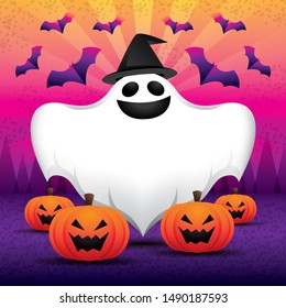 Illustration jpeg file. Happy and fun Halloween background with ghost and bat and pumpkins. Hallow speech bubble or copy space. Square image.