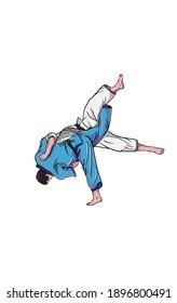Illustration of judo technique. One throw.